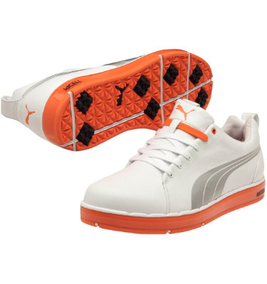 PUMA Men's HC LUX LE Golf Shoe - White/PUMA Silver/Vibrant Orange