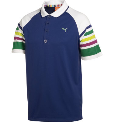 PUMA Men's Striped Short Sleeve Polo