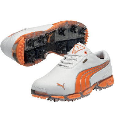 PUMA Men's Super Cell Fusion Ice Golf Shoe - White/Vibrant Orange/Smoke