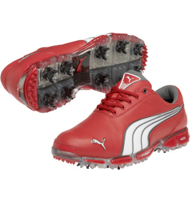 PUMA Men's Super Cell Fusion Ice LE Golf Shoe - Tomato/White