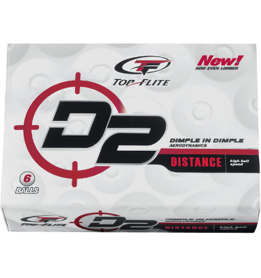 Top Flite D2 Distance Golf Balls - 6 pack