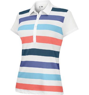 adidas Women's ClimaCool Rugby Stripe Short Sleeve Polo