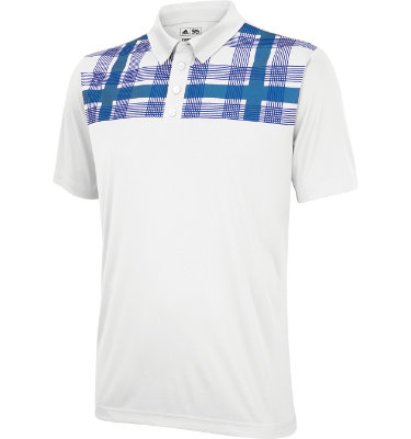 adidas Men's ClimaCool Chest Plaid Short Sleeve Polo
