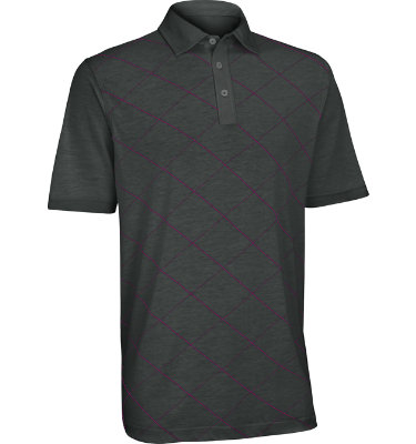 Ashworth Men's Performance Front Panel Print Short Sleeve Golf Shirt