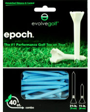 "Evolve Golf Epoch Combo Pack 1 1/2"" & 2 3/4"" Blue Golf Tees - 40 Count"