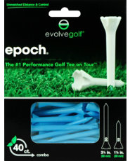 "Evolve Golf Epoch Combo Pack 1 1/2"" & 3 1/4"" Blue Golf Tees - 40 Count"