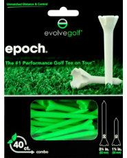 "Evolve Golf Epoch Combo Pack 1 1/2"" & 3 1/4"" Green Golf Tees - 40 Count"