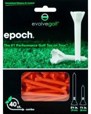 "Evolve Golf Epoch Combo Pack 1 1/2"" & 2 3/4"" Orange Golf Tees - 40 Count"