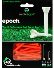 "Evolve Golf Epoch Combo Pack 1 1/2"" & 3 1/4"" Orange Golf Tees - 40 Count"