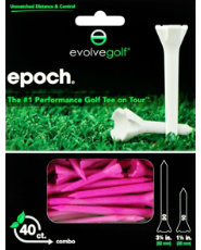 "Evolve Golf Epoch Combo Pack 1 1/2"" & 3 1/4"" Pink Golf Tees - 40 Count"