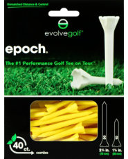 "Evolve Golf Epoch Combo Pack 1 1/2"" & 2 3/4"" Yellow Golf Tees - 40 Count"