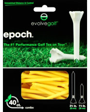 "Evolve Golf Epoch Combo Pack 1 1/2"" & 3 1/4"" Yellow Golf Tees - 40 Count"