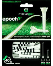"Evolve Golf Epoch S3 Combo Pack 1 1/2"" & 2 3/4"" White/Black Golf Tees - 40 Count"