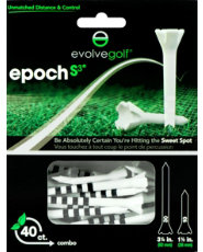 "Evolve Golf Epoch S3 Combo Pack 1 1/2"" & 3 1/4"" White/Black Golf Tees - 40 Count"
