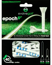 "Evolve Golf Epoch S3 Combo Pack 1 1/2"" & 3 1/4"" White/Blue Golf Tees - 40 Count"