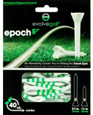 "Evolve Golf Epoch S3 Combo Pack 1 1/2"" & 2 3/4"" White/Green Golf Tees - 40 Count"