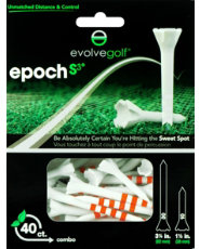 "Evolve Golf Epoch S3 Combo Pack 1 1/2"" & 3 1/4"" White/Orange Golf Tees - 40 Count"