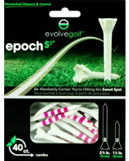 "Evolve Golf Epoch S3 Combo Pack 1 1/2"" & 2 3/4"" White/Pink Golf Tees - 40 Count"