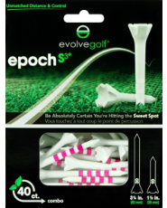 "Evolve Golf Epoch S3 Combo Pack 1 1/2"" & 3 1/4"" White/Pink Golf Tees - 40 Count"