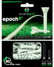 "Evolve Golf Epoch S3 Combo Pack 1 1/2"" & 3 1/4"" White/Silver Golf Tees - 40 Count"