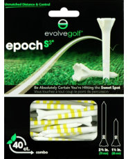 "Evolve Golf Epoch S3 Combo Pack 1 1/2"" & 2 3/4"" White/Yellow Golf Tees - 40 Count"
