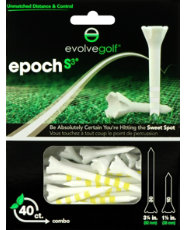"Evolve Golf Epoch S3 Combo Pack 1 1/2"" & 3 1/4"" White/Yellow Golf Tees - 40 Count"