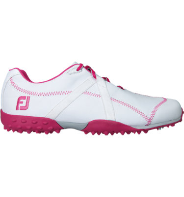 FootJoy Women's M:PROJECT Spikeless Leather Golf Shoe - White/Fuschia