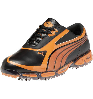 PUMA Men's AMP Cell Fusion SL Golf Shoe - Black/Vibrant Orange