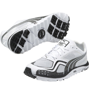 PUMA Men's FAAS Lite Mesh Spikeless Golf Shoe - White/Black