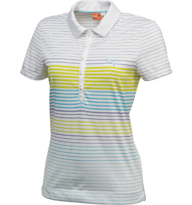 PUMA Women's Striped Short Sleeve Polo