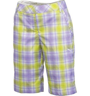 PUMA Women's Golf Plaid Tech Flat Front Short