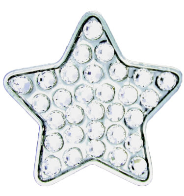 Ball Markers > Bella Women's Silver Star Crystal Hat Clip Ball Marker