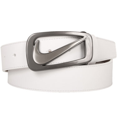 Nike Men's Swoosh Cut-Out Belt - White