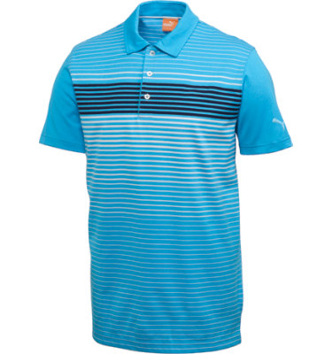PUMA Men's Engineered Stripe Tech Short Sleeve Polo