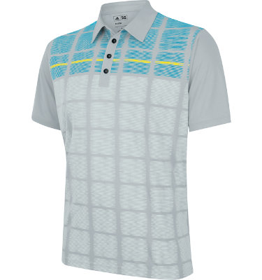 adidas Men's CLIMACOOL Window Pane Printed Short Sleeve Polo