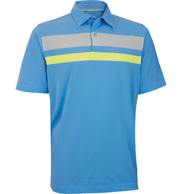 Ashworth Men's Performance EZ-SOF Engineer Chest Stripe Short Sleeve Golf Shirt