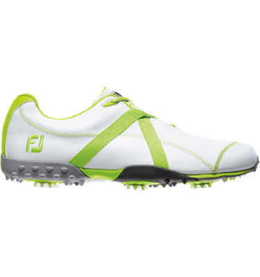 FootJoy Men's M:PROJECT Spiked Leather Golf Shoe - White/Lime (Disc Style 55108)