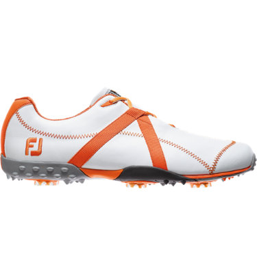 FootJoy Men's M:PROJECT Spiked Leather Golf Shoe - White/Orange
