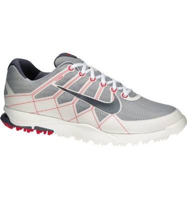 Nike Men's Air Range II Waterproof Golf Shoe - Grey/White/Hyper Red