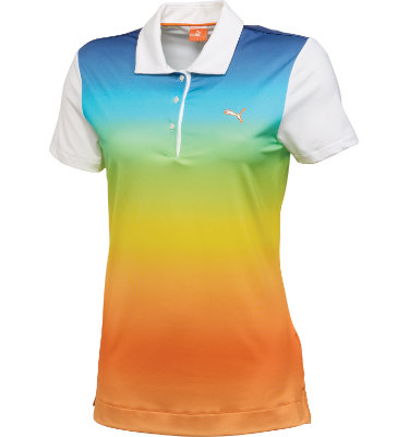 PUMA Women's Ombre Print Short Sleeve Polo