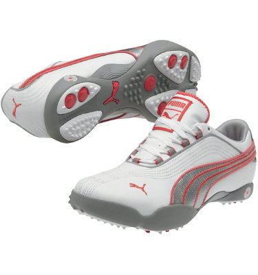 PUMA Women's Sunny II Golf Shoe - White/PUMA Silver/Rouge Red