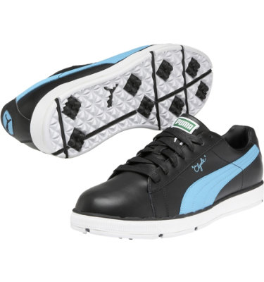 PUMA Men's Clyde Golf Shoe - Black/Blue Atoll