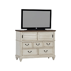 Southport Media Chest - Distressed White