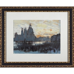 City Watercolor Framed Art IV