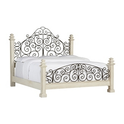 Southport King Poster Bed - Distressed White