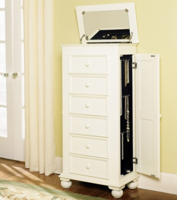 Havertys Cottage Shutter Style Jewelry Armoire Cheval Mirror