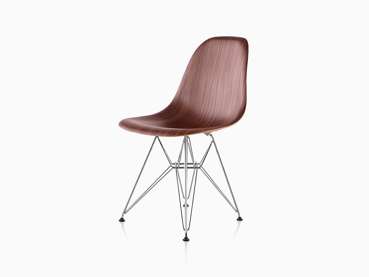 Eames plastic side chair wire base charles and ray eames herman miller - Eames Molded Wood Side Chair Wire Base Designed By Charles And Ray Eames For Herman Miller