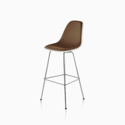 Eames Molded Fiberglass Stool Bar Height Upholstered