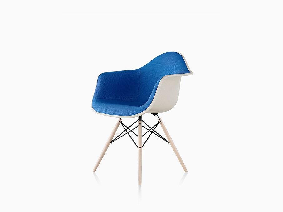 eames molded fiberglass armchair dowel base upholstered herman miller