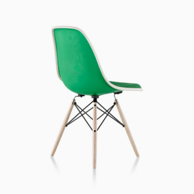 Eames® Molded Fiberglass Upholstered Dowel-Leg Side Chair (DFSW)